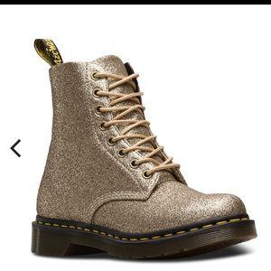 Dr. Martens 1460 Pascal Gold Glitter Boots Sz 10